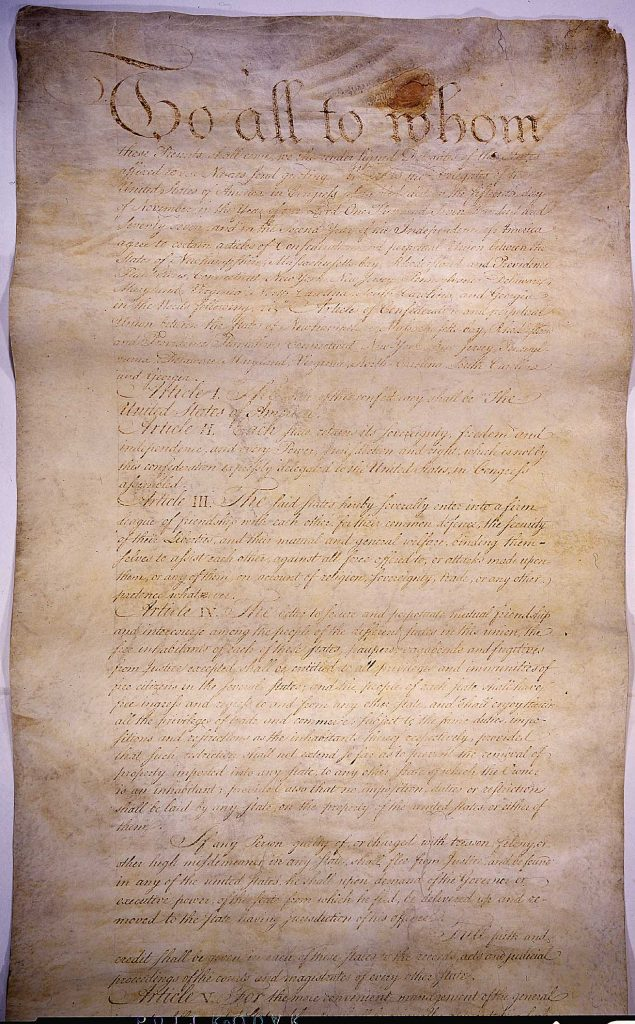 Articles of Confederation as the first American government